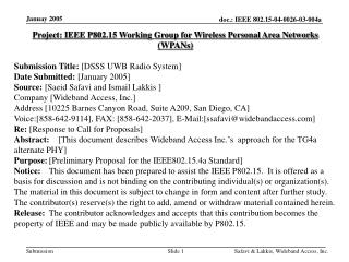 Project: IEEE P802.15 Working Group for Wireless Personal Area Networks (WPANs) Submission Title:  [DSSS UWB Radio Syste
