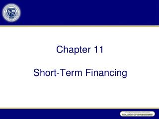 Chapter 11 Short-Term Financing
