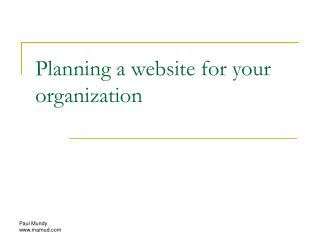 Planning a website for your organization