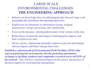 LARGE-SCALE  ENVIRONMENTAL CHALLENGES:  THE ENGINEERING APPROACH