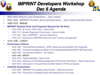 IMPRINT Developers Workshop  Dec 6 Agenda