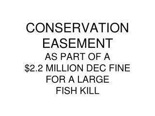 CONSERVATION  EASEMENT AS PART OF A  $2.2 MILLION DEC FINE FOR A LARGE FISH KILL