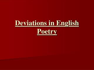 Deviations in English Poetry