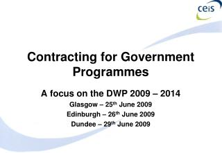 Contracting for Government Programmes