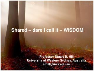 Shared – dare I call it – WISDOM