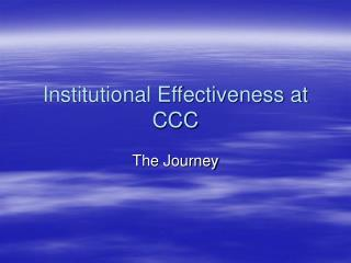 Institutional Effectiveness at CCC