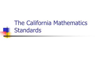 The California Mathematics Standards
