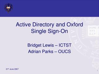 Active Directory and Oxford Single Sign-On