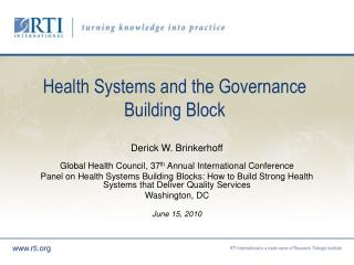 Health Systems and the Governance Building Block
