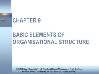 CHAPTER 9 BASIC ELEMENTS OF ORGANISATIONAL STRUCTURE