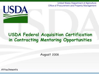 USDA Federal Acquisition Certification in Contracting Mentoring Opportunities