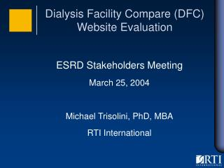 Dialysis Facility Compare (DFC) Website Evaluation