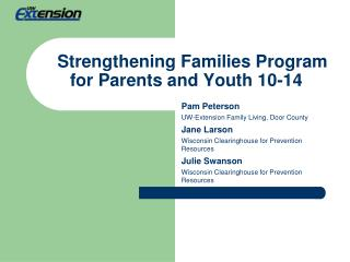 Strengthening Families Program for Parents and Youth 10-14