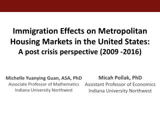 Michelle Yuanying Guan, ASA, PhD Associate Professor of Mathematics Indiana University Northwest