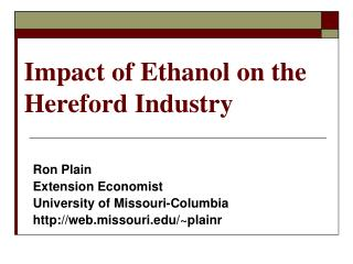 Impact of Ethanol on the Hereford Industry