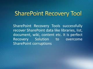 How to Repair SharePoint Database
