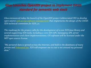 Gluu Launches OpenXDI project to implement OASIS standard f