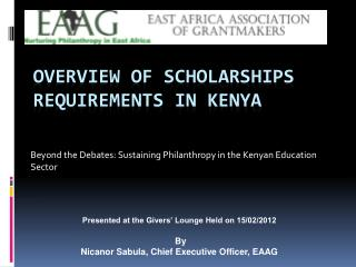 Overview of Scholarships Requirements in Kenya