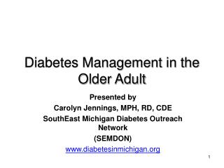 Diabetes Management in the Older Adult