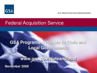 GSA Programs Available to State and  Local Governments  gsa