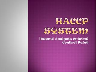 HACCP System