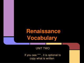 Renaissance Vocabulary