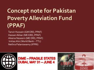 Concept note for Pakistan Poverty Alleviation Fund (PPAF)