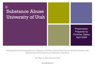 Substance Abuse University of Utah
