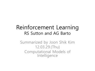 Reinforcement Learning RS Sutton and AG  Barto