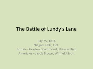The Battle of Lundy's Lane