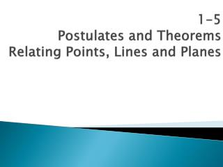 1-5 Postulates and Theorems Relating Points, Lines and Planes