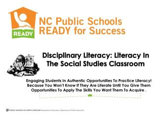 Disciplinary  Literacy: Literacy In The Social Studies Classroom