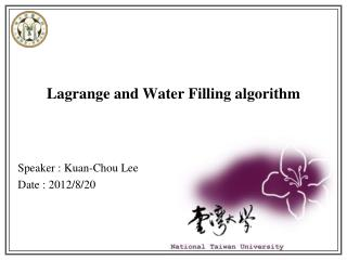 Lagrange and Water Filling algorithm