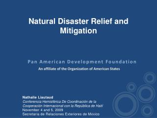 Natural  Disaster Relief  and  Mitigation