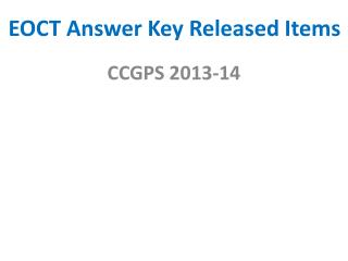 EOCT Answer Key Released Items
