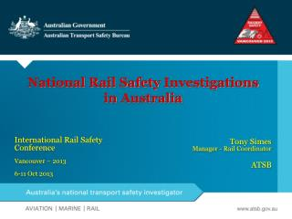 National Rail Safety  Investigations in  Australia