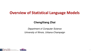 Overview of Statistical Language Models