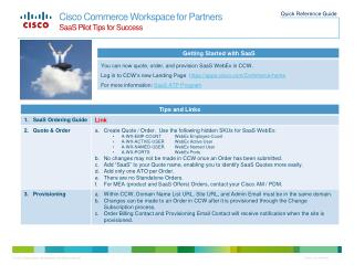 Cisco Commerce Workspace for Partners SaaS Pilot Tips for Success