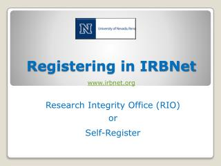 Registering in  IRBNet irbnet