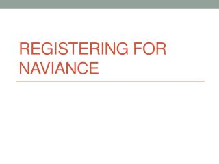 Registering for Naviance