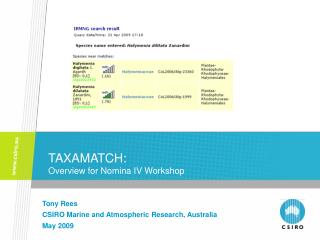 TAXAMATCH: Overview for Nomina IV Workshop