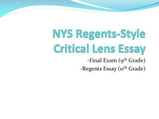 NYS Regents-Style Critical Lens Essay