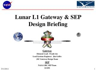 Lunar L1 Gateway & SEP Design Briefing