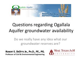 Questions regarding Ogallala Aquifer groundwater availability
