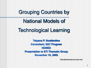 Grouping Countries by  National Models of  Technological Learning