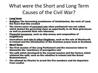 What were the Short and Long Term Causes of the Civil War?
