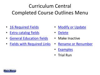Curriculum Central  Completed Course Outlines Menu