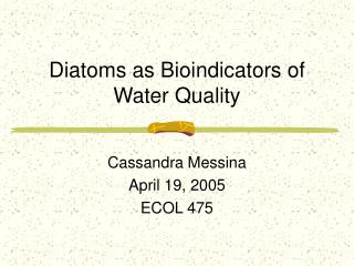 Diatoms as Bioindicators of Water Quality