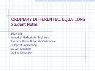 ORDINARY DIFFERENTIAL  EQUATIONS Student Notes