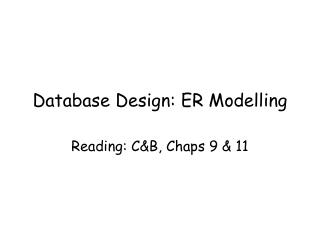 Database Design: ER Modelling